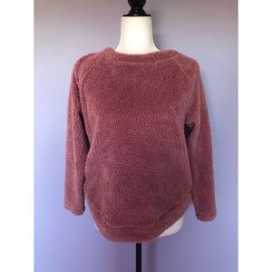 Loft pink teddy sweater